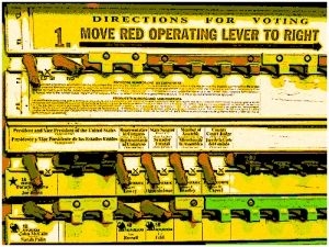 American voting machine. Original Photo: John C. Abell, via flickr, licensed under Creative Commons.